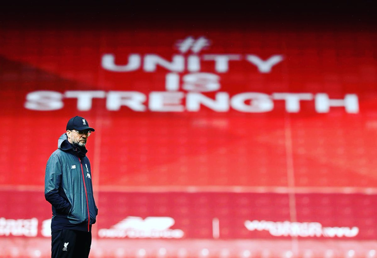 You'll Never Walk Alone is more important than ever right now. No good comes from feeling sorry for ourselves and excuses won't help. It's on us, all of us,to fight our way back.We're at our strongest when we are one force- players & supporters, TOGETHER 💪#UnityIsStrength #YNWA