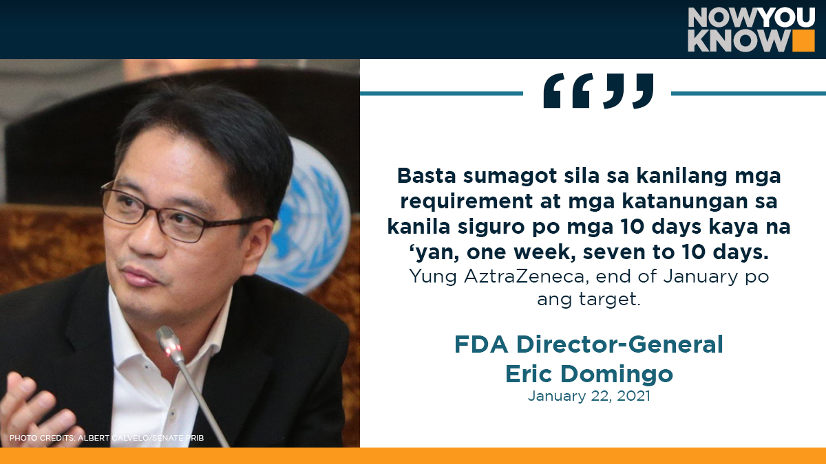 The Food and Drug Administration (FDA) aims to finish its evaluation of British drugmaker AztraZeneca's emergency use authorization (EUA) application and decide by the end of January, its chief said Friday. READ: bit.ly/3sMgCOe 📰Inquirer.net