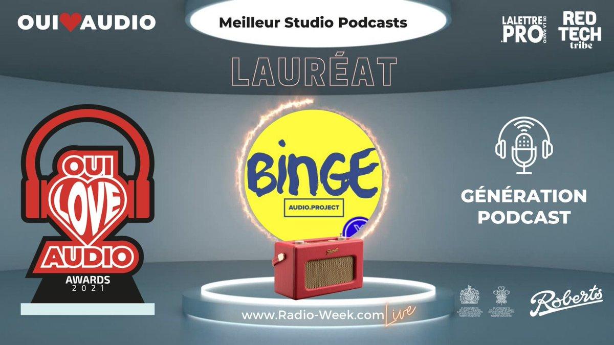 [#RADIOWEEK] Jour 5 : Génération Podcast. 🏆 Le vainqueur dans la catégorie Meilleur studio Podcast est : @BingeAudioFr  👏👏👏 Félicitation à Binge Audio pour ce prix !