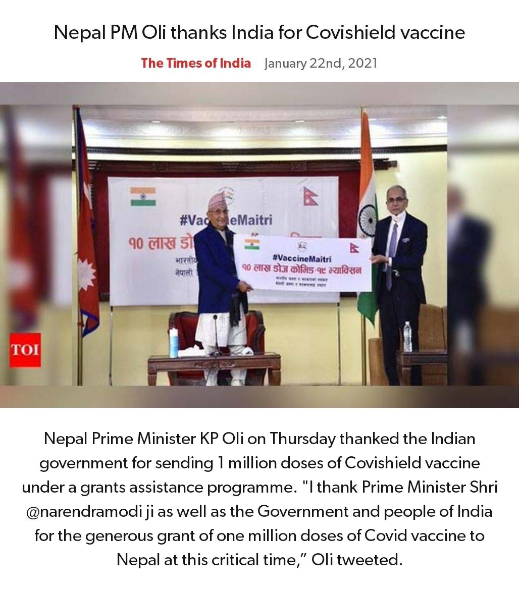 Nepal PM Oli thanks India for Covishield vaccine https://t.co/6M6getTsnb   via NaMo App https://t.co/r8gw5MzlrT