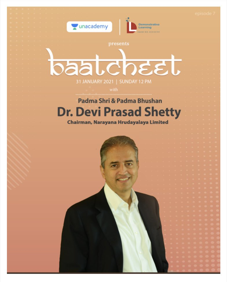 Get ready to be #Inspired ✨ Bringing to you episode 7 of Baatcheet, with world-known cardiac surgeon, Dr. Devi Prasad Shetty. Sunday, 31st January, 2021 at 12 PM. Stay tuned.  #Baatcheet #episode7 #devishetty #KiranBedi #sainabharucha #inspirationalpeople #healthcareheroes