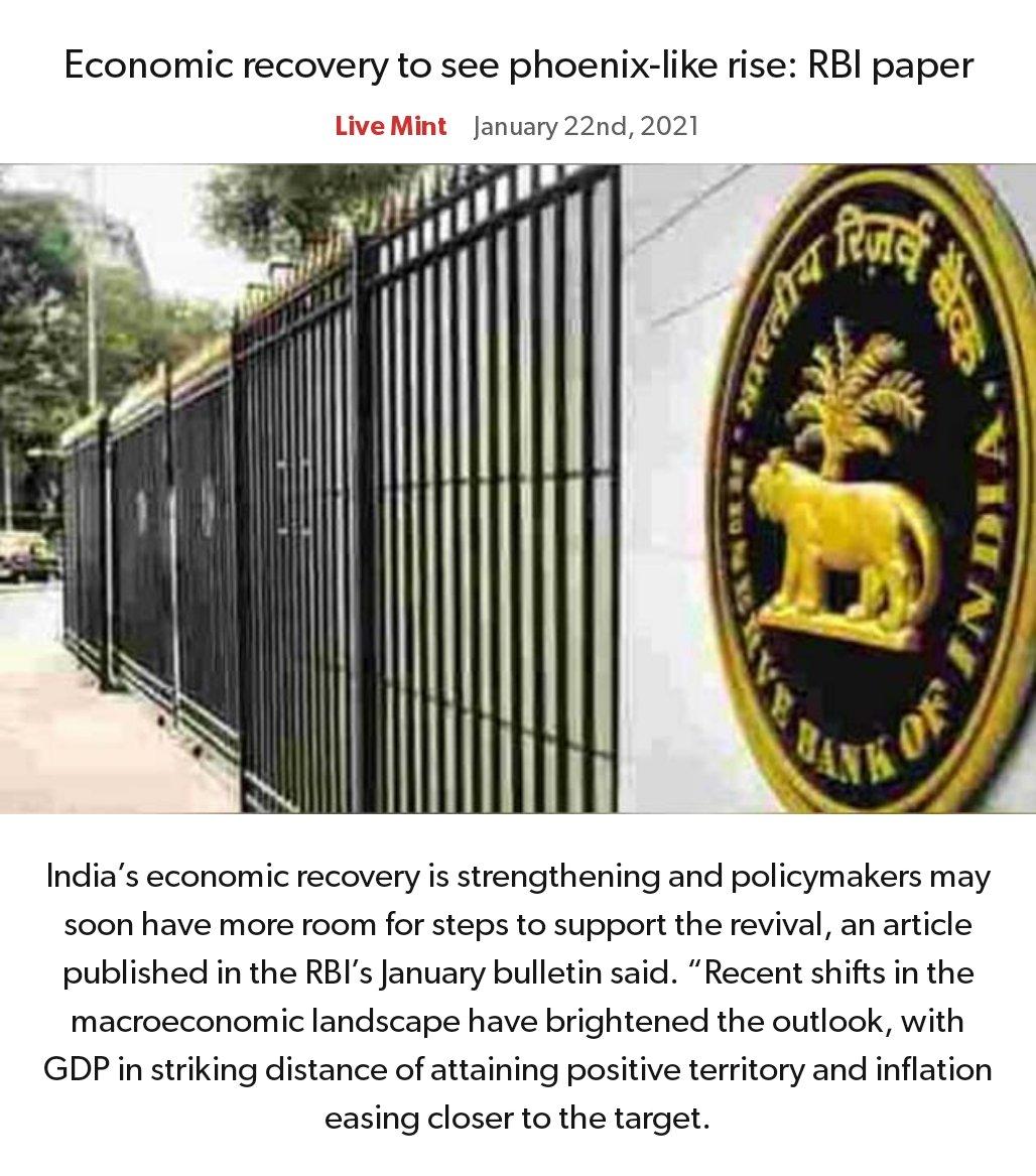 Economic recovery to see phoenix-like rise: RBI paper https://t.co/wyboSt8LKu   via NaMo App https://t.co/q9eBQ28mt2