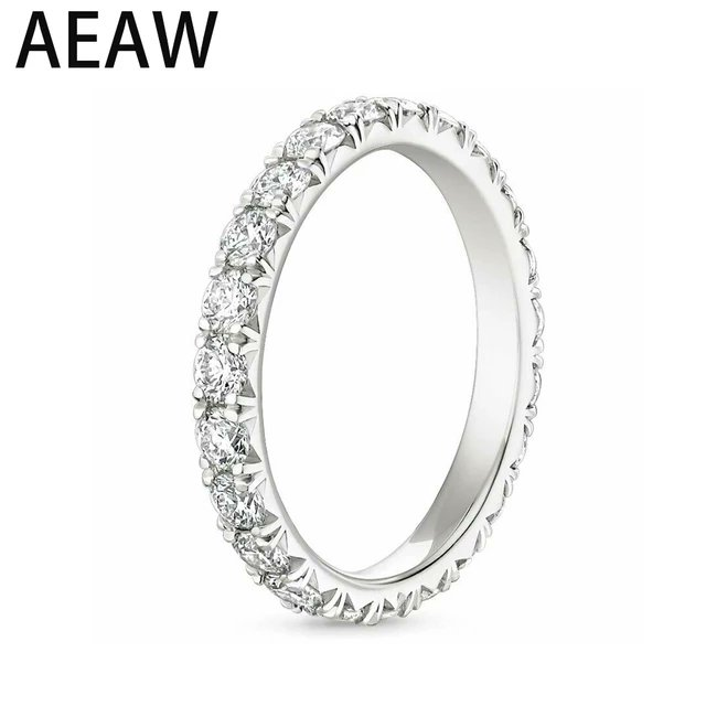 #AEW Solid 14K 585 White Gold 1.2ctw 2mm DF Color Moissanite Eternity Wedding Band Moissanite Ring for Women Ladies Ring    #ring, #womenring, #accessory, #ladiesring, #goldring, #gifts, #sales, #fashion, #giftforher, #jewelry
