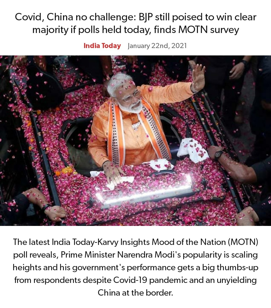 Covid, China no challenge: BJP still poised to win clear majority if polls held today, finds MOTN survey https://t.co/5GnN7TeYdN   via NaMo App https://t.co/hvJRxth3pA