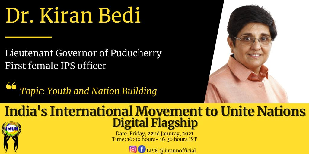 Happening Now:  HLG @thekiranbedi addressing the members of @iimunofficial on 'Youth and Nation Building'.  Live Links on Facebook and YouTube: