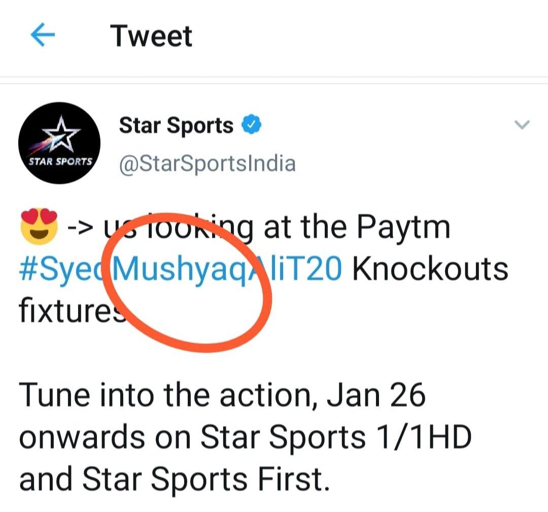 @StarSportsIndia Mushtaq*  #SyedMushtaqAliT20