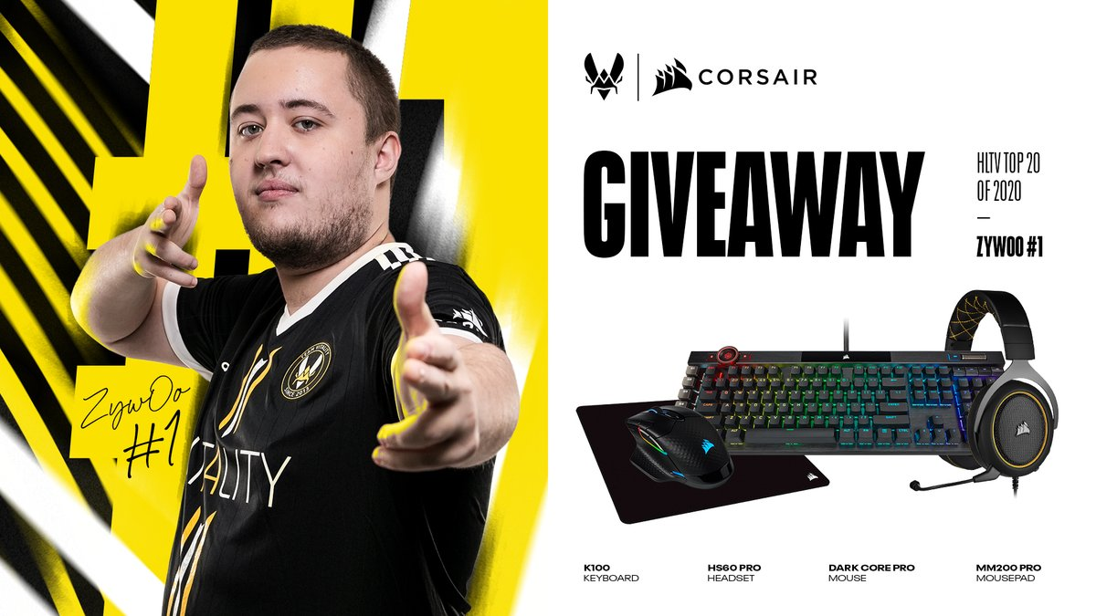 Today 🎉 WE 🎉 ARE 🎉 CELEBRATING 🎉 What's better than an awesome @CORSAIR giveaway to honour our dear #1 @zywoo? Try to win this Corsair set : HS60 Pro + K100 RGB+ MM200 Pro + Dark Core Pro🌟  To enter: 🔁 This Tweet ✨ Follow @TeamVitality, @CORSAIR & @zywoo 🔥 Tag a friend