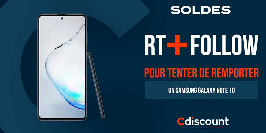 #Concours 🎁  Les #CdiscountSoldes continuent ! A gagner aujourd'hui, un Samsung Galaxy Note 10 :   Pour tenter ta chance :  🔹 RT + Follow @Cdiscount  🍀 TAS le 27/01