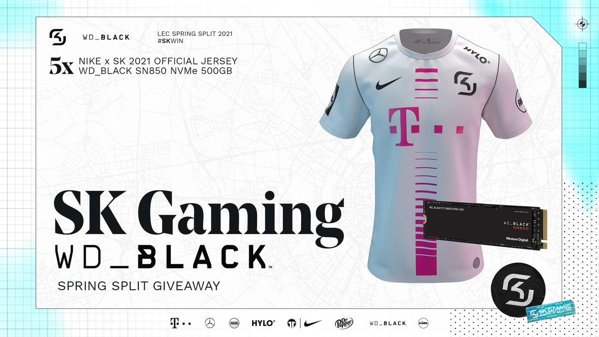 New jersey, new #LEC season - plenty of reasons to celebrate today! Together with @wd_black we give you the chance to win 5 bundles of the 2021 SK Jersey and the #WDBlack SN850 SSD. To participate:  ✅ Follow @SKGaming & @wd_black  🔁 RT 💬 Predict our #LEC Super Week score