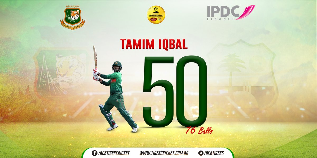 Replying to @BCBtigers: 50! 48th ODI fifty for @TamimOfficial28   #BCB #BANvWI