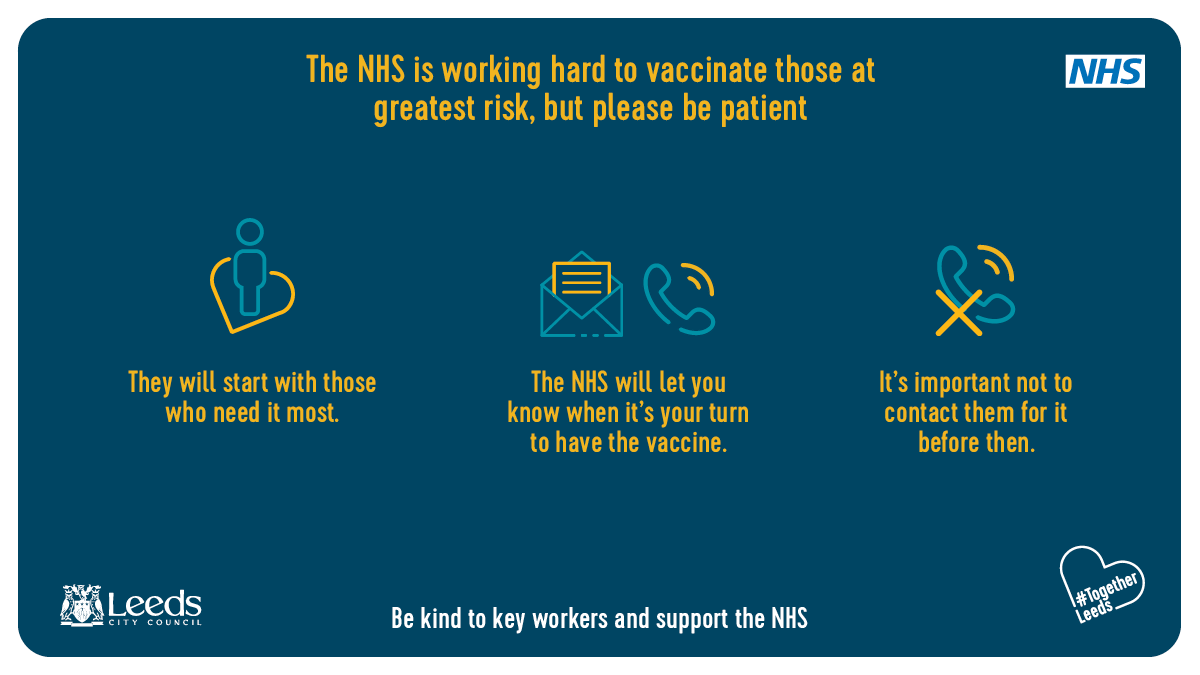 The NHS is currently offering the coronavirus vaccine for people who are most at risk from coronavirus, before being offered more widely. The NHS will let you know when its your turn, so please do not get in contact before then. Find out more: orlo.uk/ZdgQ2