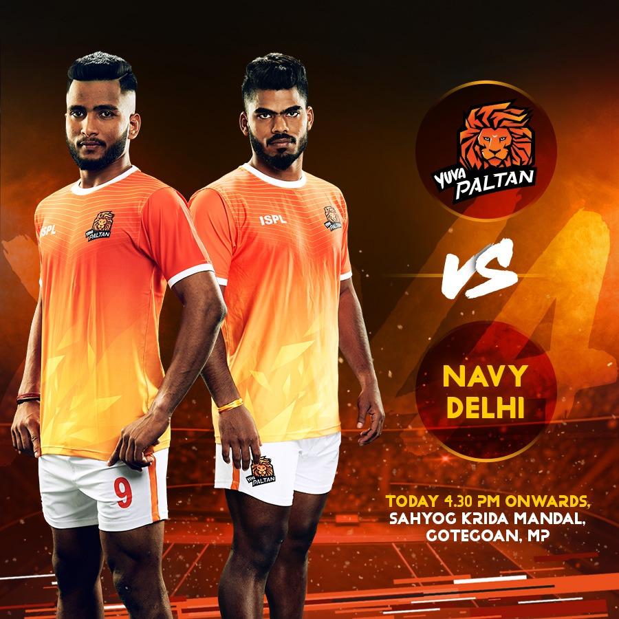 Yuva Paltan's second match of the day is starting now against Navy Delhi! 👀 . . #38thAllIndiaMensKabaddiChampionship #BhaariPaltan #GheunTak #Kabaddi