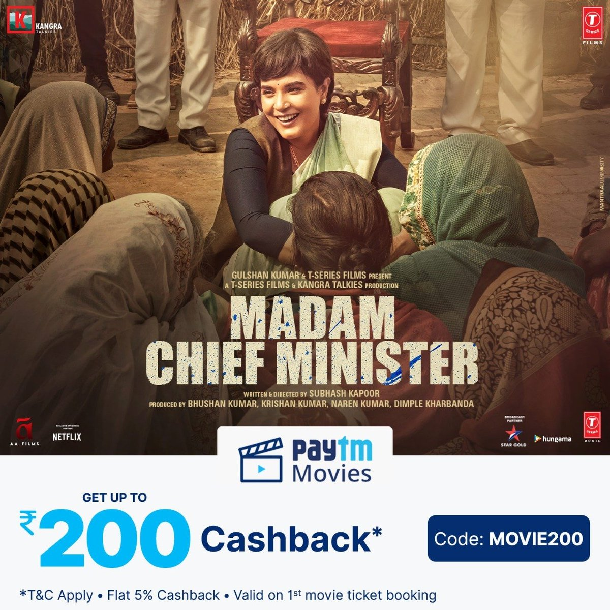 Watch the biggest showdown between a commoner and the largest political system. Get your tickets for #MadamChiefMinister.  Book your tickets now:   @RichaChadha @saurabhshukla_s #ManavKaul #BhushanKumar #KrishanKumar @subkapoor @KangraTalkies