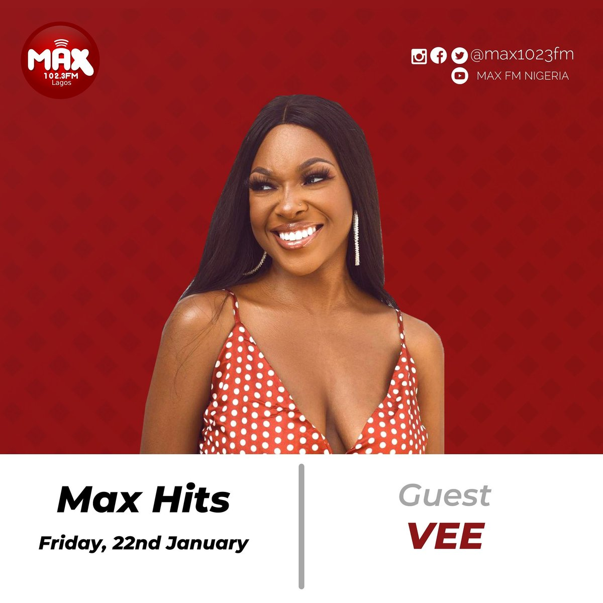 Live in the studio with the #colourgang is former BBNaija star, @veeiye . . Tune in to catch up with the magic! . You already know @iam_RealSkillz and @CeratheCera brings out the 🔥 . . #Exclusiveonmaxhits