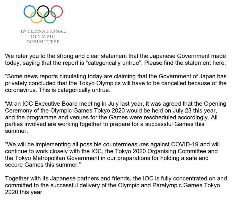 Replying to @iocmedia: IOC statement on media reports regarding Tokyo 2020
