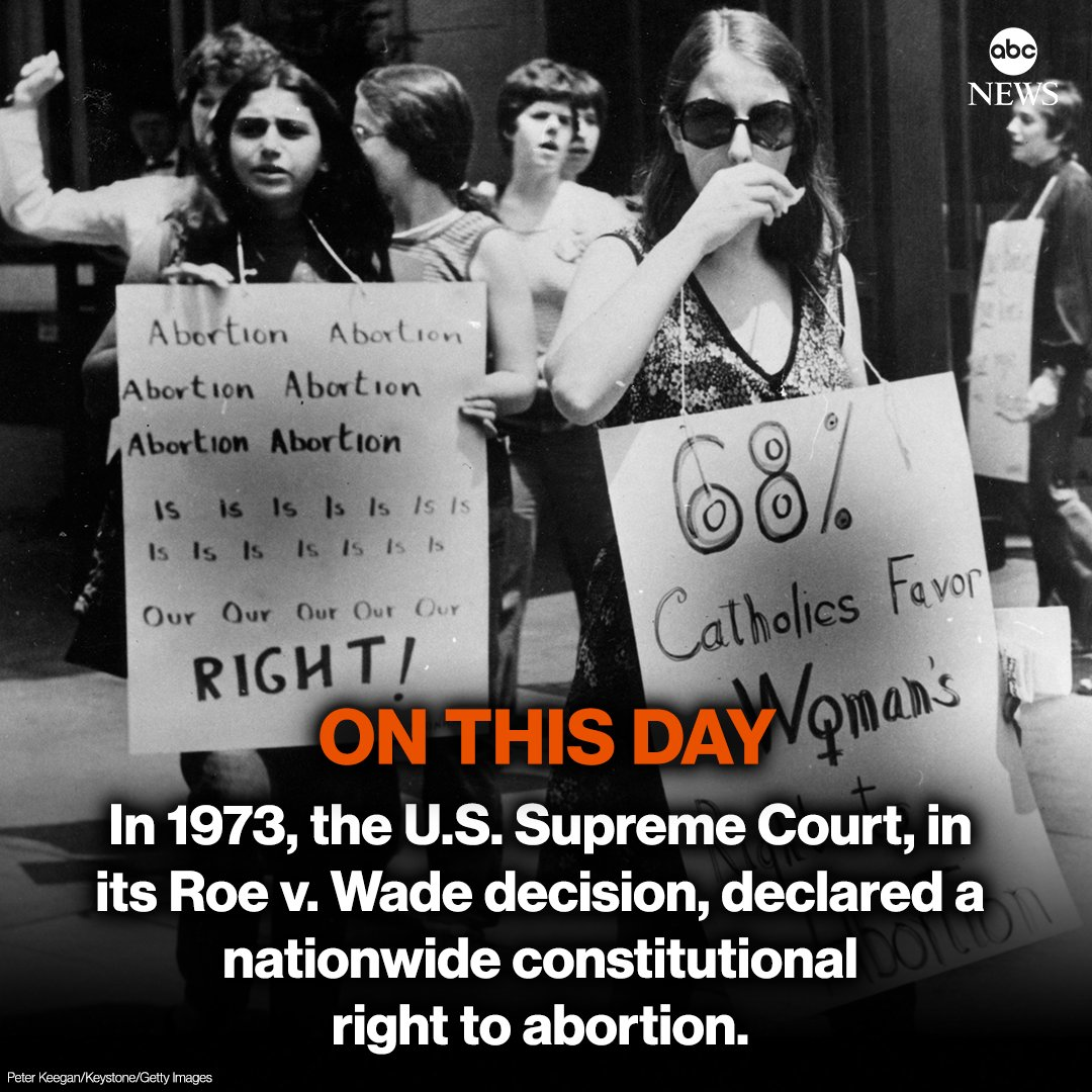ON THIS DAY: In 1973, the U.S. Supreme Court, in its Roe v. Wade decision, declared a nationwide constitutional right to abortion.
