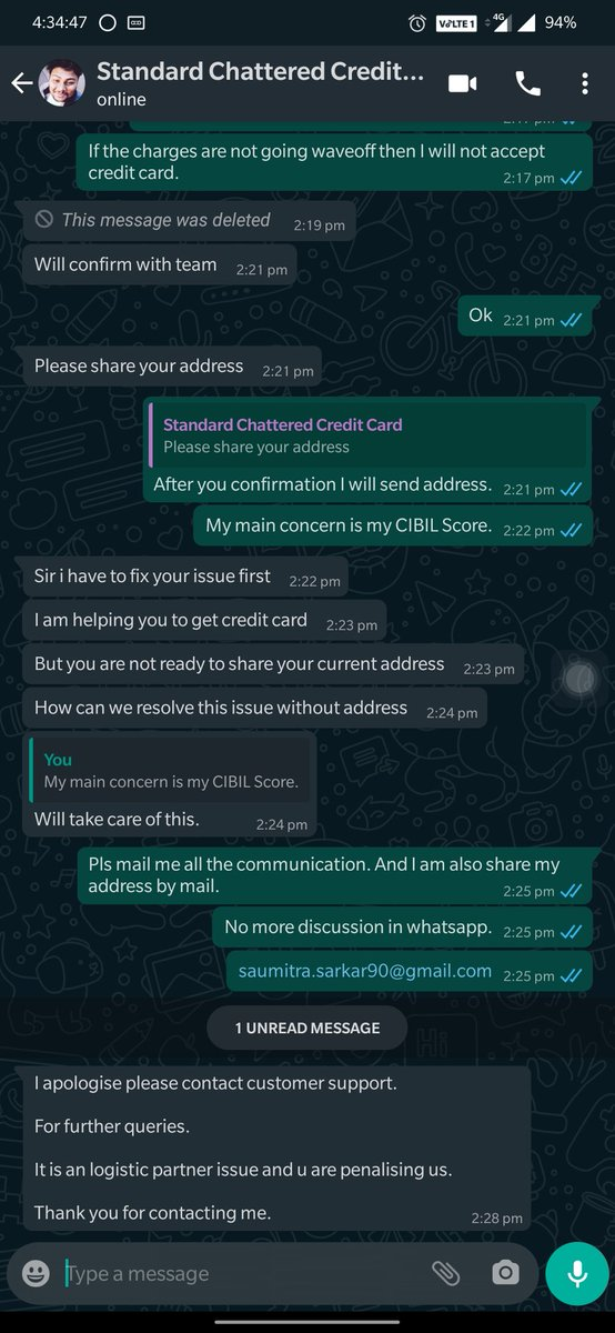 #StandardChartered You people was issued a credit card. But this is not delivered to me. Although bills is generated. I share the channel partner screen shot. Its effect my CIBIL.