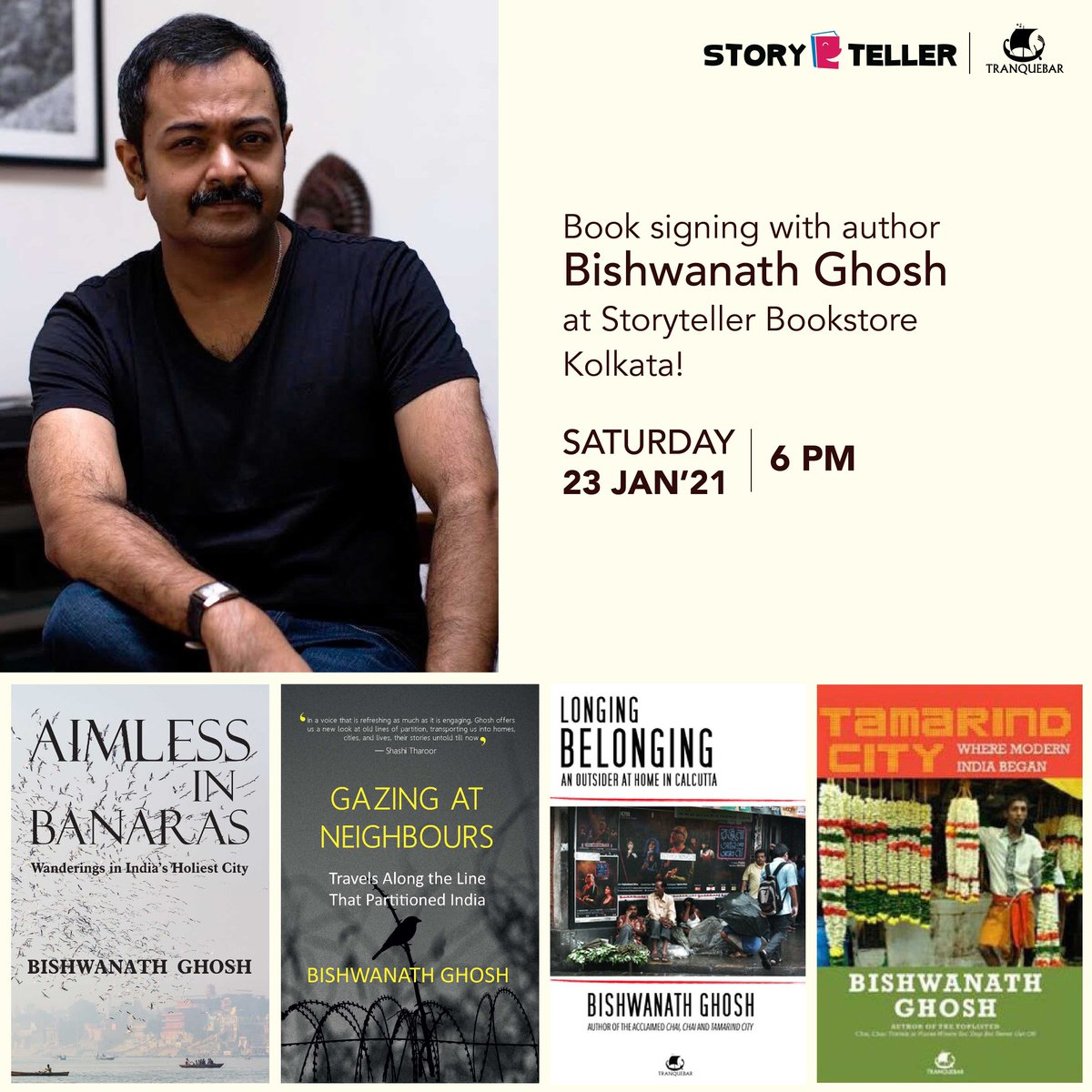 Saturday! Writer and journalist @BishwanathGhosh visits us for a cup of tea and a signing session.  Come join us at 6 pm.  RSVP 9331051191/8910896319 Please wear masks. Social distancing will be observed. @WestlandBooks  #Tranquebar #Kolkata