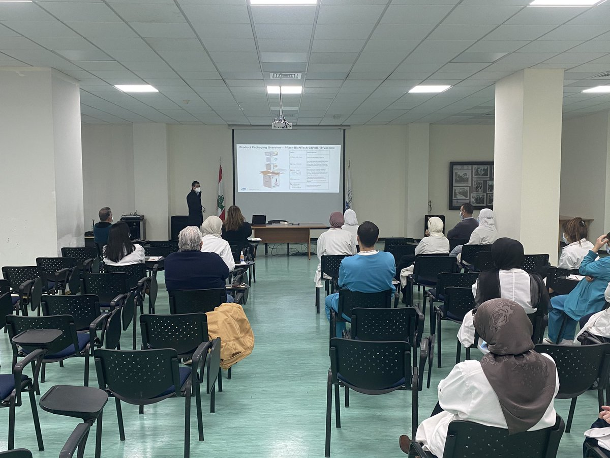 At Rafik Hariri University Hospital,  feeling hopeful! Attending the first staff training session by @pfizer on the biology and roll out logistics of the Pfizer-BioNTech vaccine. RHUH will be one of the major vaccination centers assigned by @mophleb.