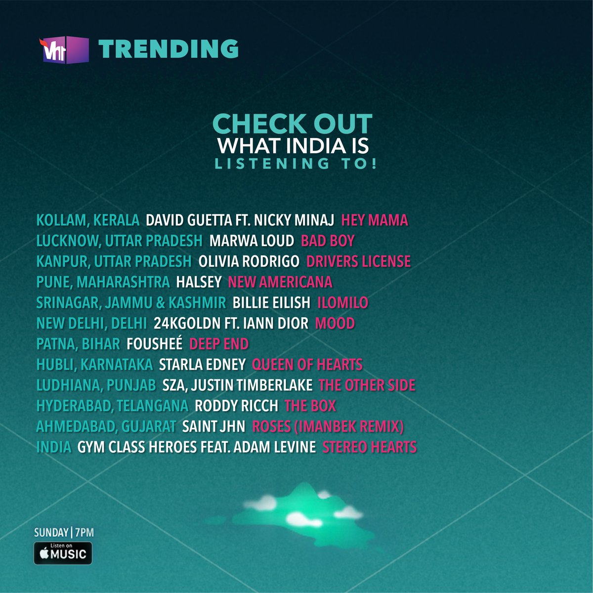 Check out what the nation is grooving to! Tune-in to #Vh1Trending & start vibing.  #Vh1India #GetWithIt