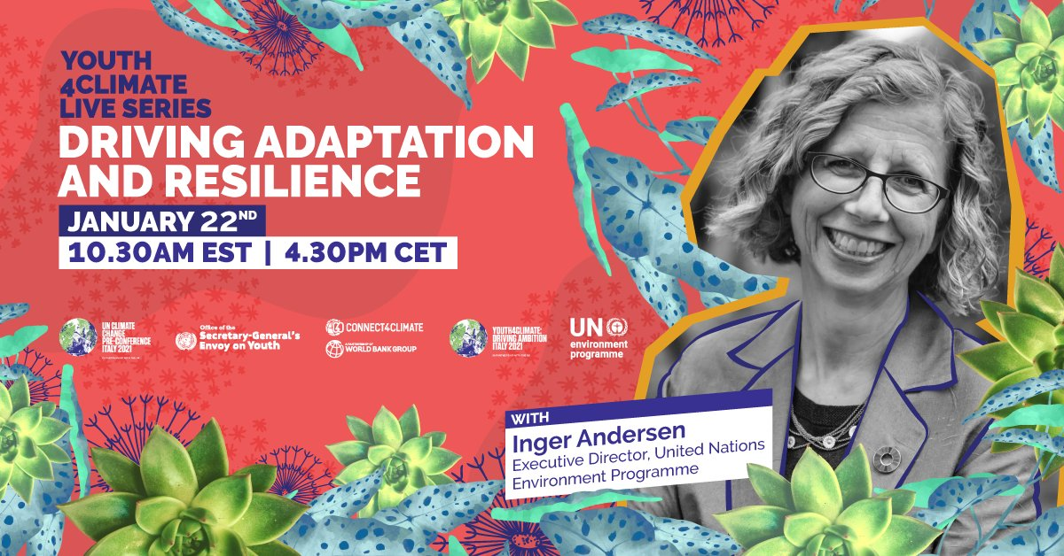 The penultimate episode of #Youth4ClimateLive is happening this Friday: Don't miss out! 🎉 Join @Connect4Climate, @UNYouthEnvoy, @PreCop26ITA & amazing guests for a discussion on how #adaptation drives ambitious #climateaction 🙌 Sign up here: