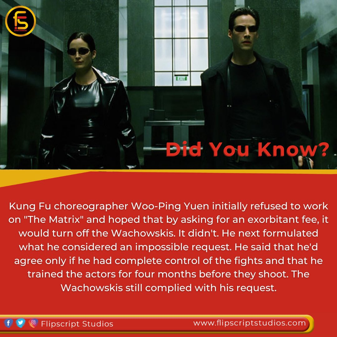 "Did you know? 🔎Kung Fu choreographer Woo-Ping Yuen initially refused to work on ""The Matrix"" and hoped that by asking for an exorbitant fee, it would turn off the Wachowskis.   #didyouknow #movie #facts #didyouknowfacts  #tgif  #weekend #facts💯 #fact #thematrix #matrix"