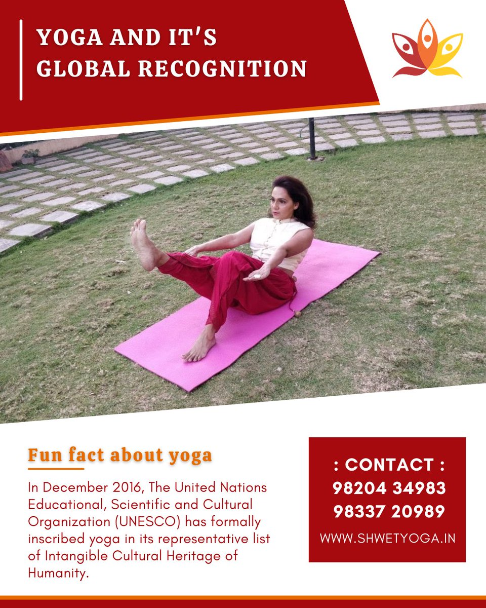 In December 2016, The United Nations Educational, Scientific and Cultural Organization (UNESCO) has formally inscribed yoga in its representative list of Intangible Cultural Heritage of Humanity.  #yoga #positivevibes #health #yogaclassesinthane #shwetyoga #shwetyogaclasses