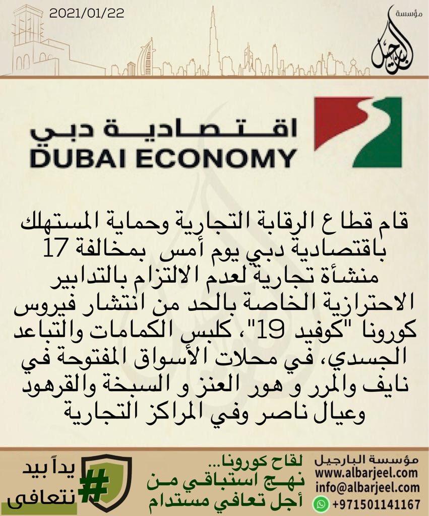 اقتصادية دبي تخالف 17منشآة تجارية لم تلتزم بالتدابير الاحترازية لكوفيد 19  تشديد الرقابة على الأسواق لضمان صحة وسلامة المجتمع  #البارجيل  #albarjeel #اقتصادية_دبي_البارجيل #اقتصادية_دبي  #الامارات #دبي #حماية_المستهلك #حماية_المستهلك_البارجيل https://t.co/t4FjGI05kM