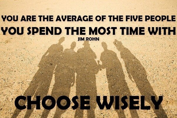 """""""You're the average of the five people you spend the most time with,"""" Jim Rohn. There's also the """"show me your friends and I'll show you your future"""" derivative. Whichever you've heard, the intent is the same. Audit the people around you! #FridayThoughts #positivemindset"""