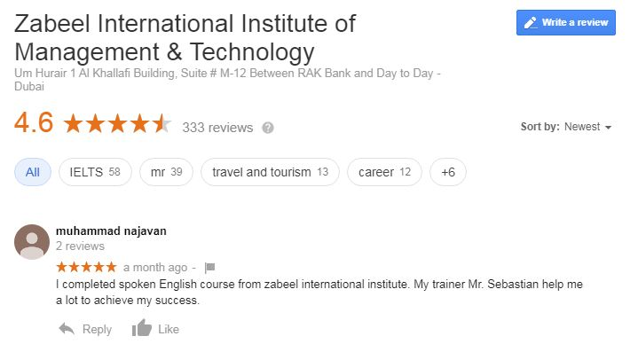 Best Reviews!!!  Successful Student Review about class and Training!   For more info:   Whats App: 971503068426  Email: mail@zabeelinstitute.ae  #googlereview  #zabeelinstitute #training #certification #iata #finance #logistics #engineering #IT #language