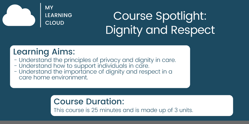 This week on our #coursespotlight we have our course on Dignity and Respect. We have over 90 courses which are CPD certified. This is one of them! If you'd like to know what other courses we do, visit  #elearning #carehomes #training