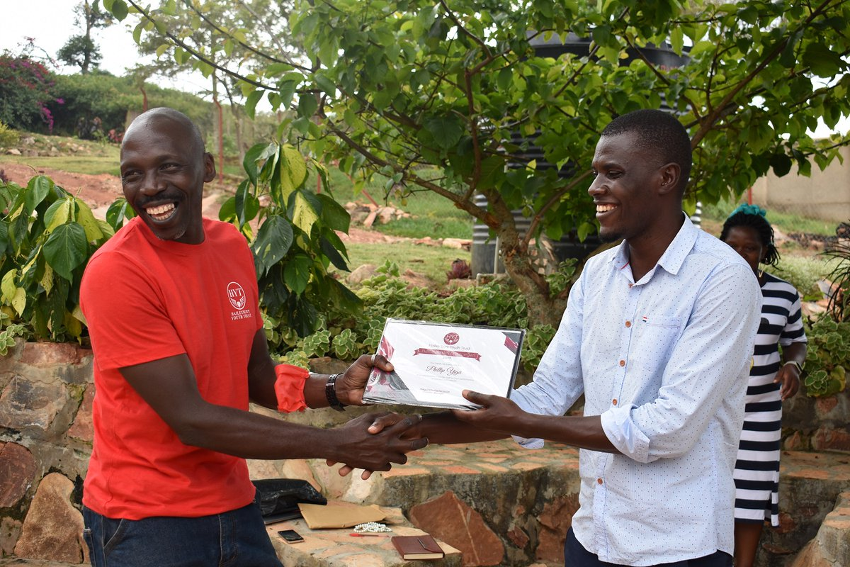 #HYT #legend Philip Yiga accepting a belated and much deserved employee of the year 2019 award. A great day with the team and good way to finish 2020.  #sustainble #contruction #build #training #youth #environment #conservation #climatechange #ISSB #ecowarrior #development