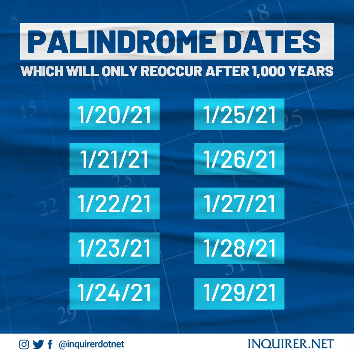 Today is a Palindrome date! Palindrome days are those that when written in a certain format, read the same way forward and backward.  Be sure to spend them in a memorable fashion, this specific set comes only once every thousand years! #PalindromeDate