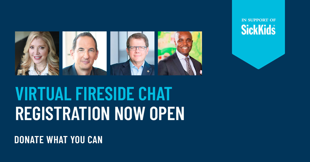 Rise and shine! ☀️Our virtual fireside chat 🔥 starts at 8:30 am. You'll have the opportunity to learn from business leaders @wesleyjhall @LisaSLisson Michael Medline and @Jordan_Banks You can still register! All proceeds go to SickKids.