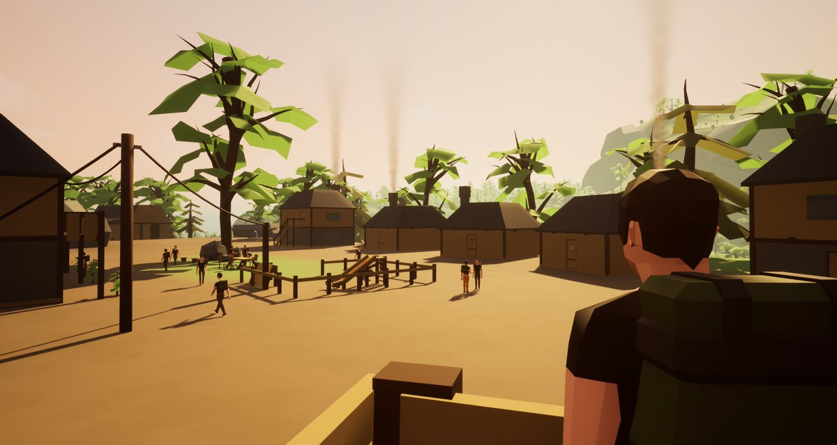 New town screenshot of #PacificIsland, the first island of our game #PacificLife ! Learn more about our craft/build/trade free multiplayer game on   #UnrealEngine #NintendoSwitch #indiegames #indiegamedev