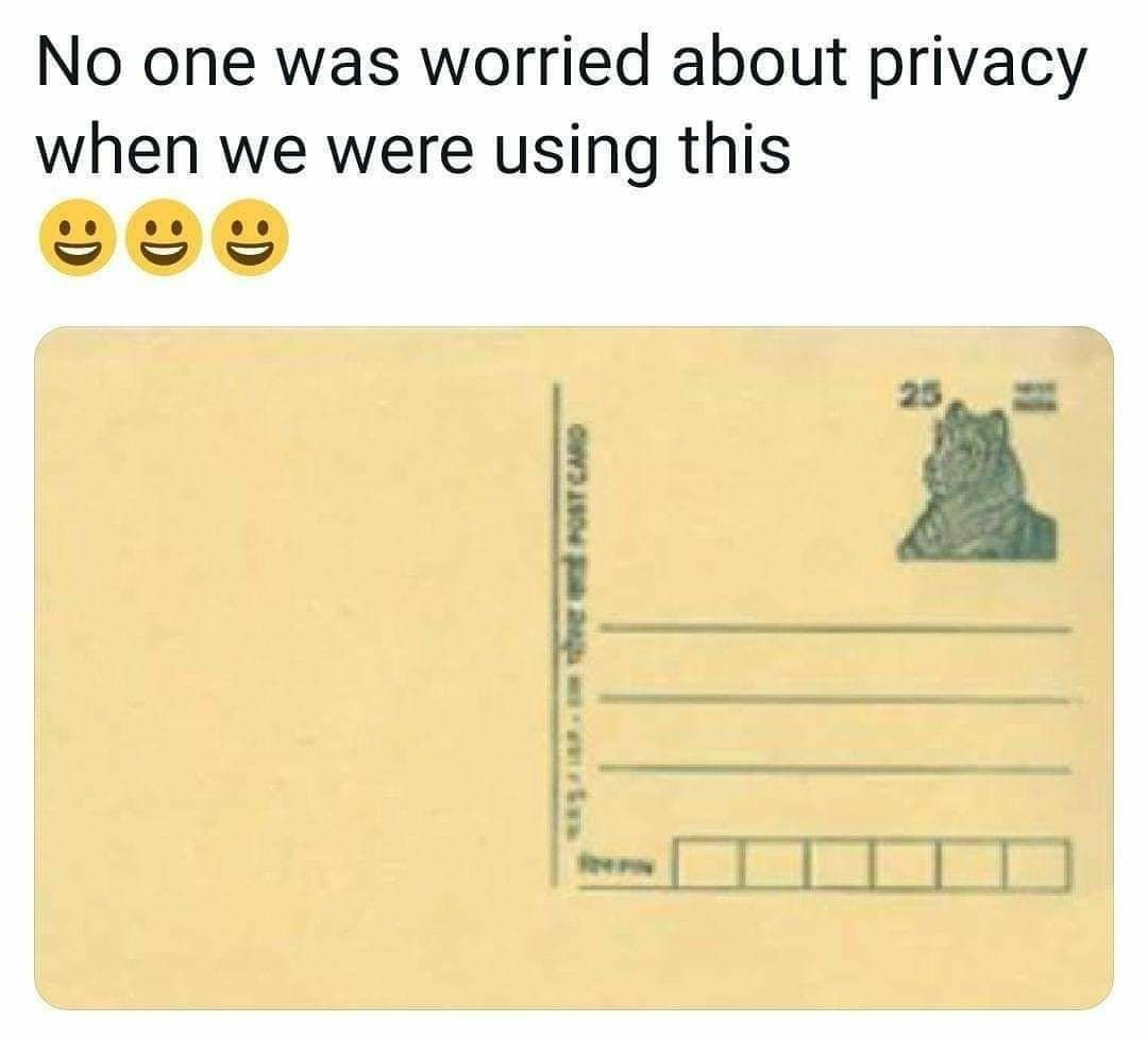 No one was worried about privacy when we used to write on these! #PrivacyAwareChat #FridayThoughts - Wat has happened to this world now.