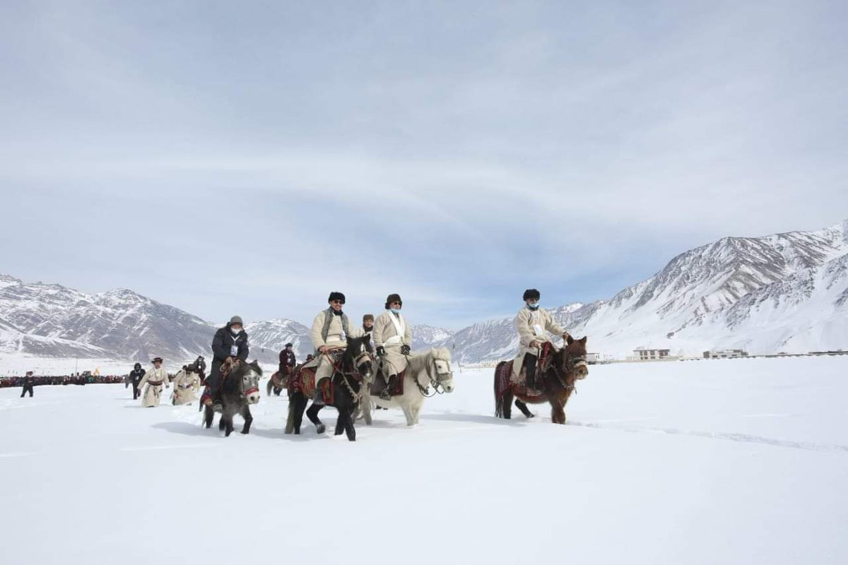Images from the Horse Riding event with Sh. @KirenRijiju Ji at the Khelo India - Zanskar Winter Sports & Youth Festival 2021 amidst the breath taking backdrop of snow covered Zanskar Valley