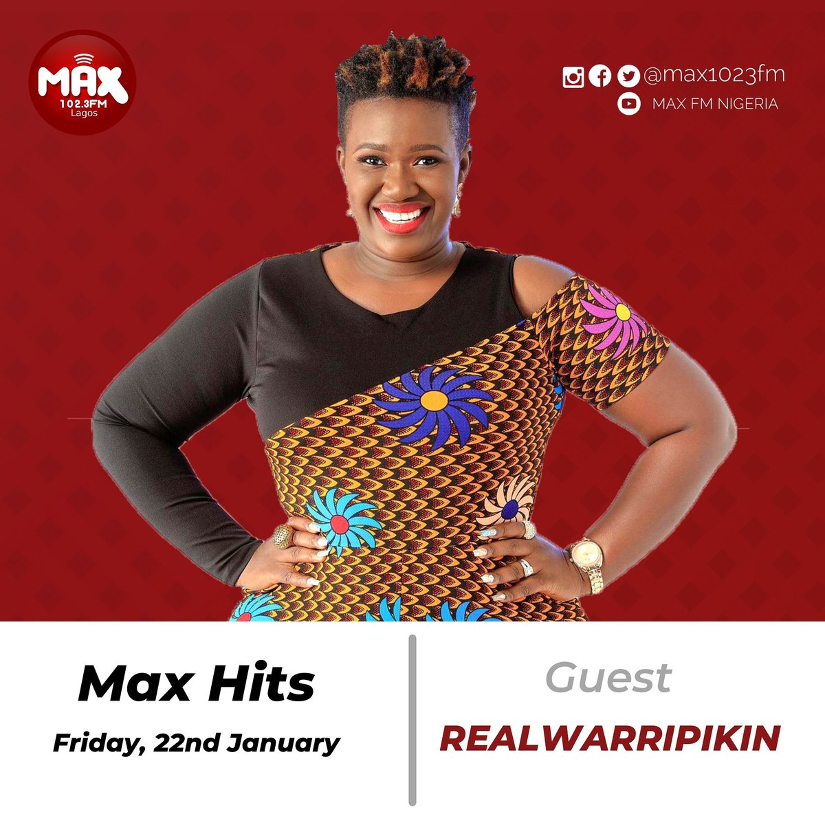 The multi-talented @drealwarripikin live in the building🔥🔥🔥 . You don't want to miss this! Tune in now!!!  #MaxHits Show with @iam_RealSkillz  and  @CeratheCera . . #realwarripikin #Max1023FM #Exclusiveonmax