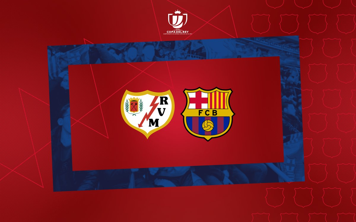 🏆  Copa del Rey draw for the last 16!   Rayo Vallecano 🆚 Barça  ℹ  The tie will be played over one leg and will take place next week at Vallecas Stadium (kick off time TBC)  #CopaBarça