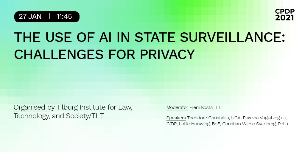 Interested in the use of #AI in state surveillance & #predictivepolicing? Join our @plixavra at the @CPDPconferences panel moderated by @eleni_kosta with Lotte Houwing (@bitsoffreedom), Zoi Kardasiadou, @TC_IntLaw and Christian Wiese Svanberg from @Rigspoliti on Wed 27/01, 11.45! https://t.co/Z0gbobIZ0H