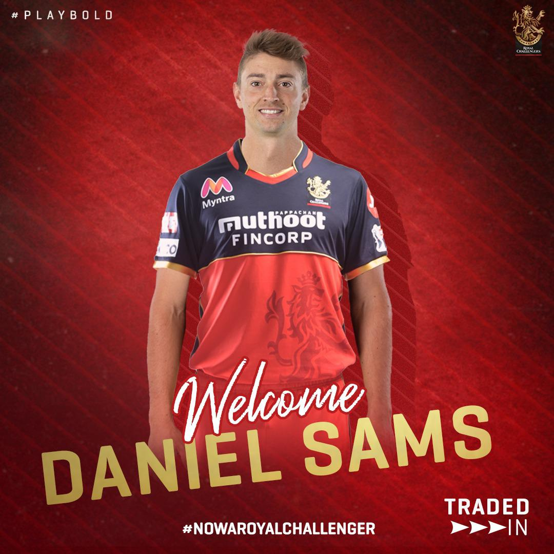 """Royal Challengers Bangalore on Twitter: """"A BOLD welcome to Daniel Sams and @HarshalPatel23 as they join the RCB family for the 2021 IPL. 🤩 #PlayBold #NowARoyalChallenger #WelcomeDanSams #WelcomeHarshalPatel #IPL2021… https://t.co/04rXiag5Ew"""""""