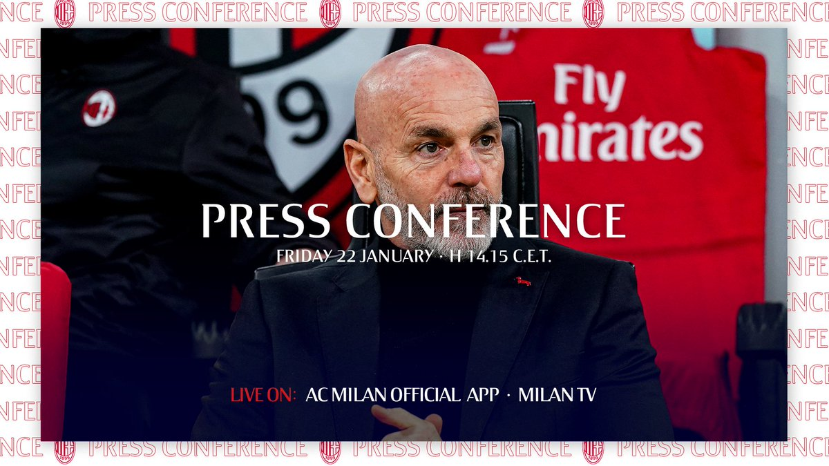 #MilanAtalanta: tomorrow. Coach Pioli's presser: soon! 🕝🔜  https://t.co/k2zluibzhx 📲   🔜 Tra poco il Mister parlerà in conferenza stampa, non perdertelo! 🕝  #SempreMilan https://t.co/1FCFbZ9JEn