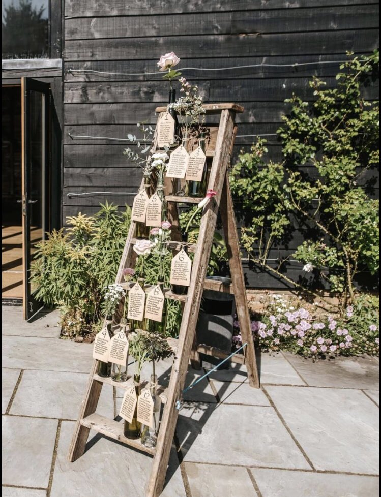 #FlashbackFriday - we love how Emma & Neil decorated our rustic ladder for their Tipi wedding last year.  Everyone at Dream Tipi wish them a lovely 1st wedding anniversary!  ❤️  #dreamtipi #wedding #weddinganniversary #teepee #weddingaccessories #tabledecorations #tableplan