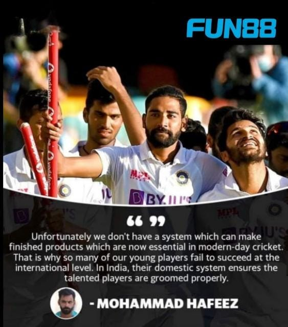 Senior Pakistan batsman Mohammad Hafeez has lauded the Indian team for its incredible fightback to win the Test series against Australia and credited the feat to having a proper talent-grooming system in place.👏🔥  #Fun88 #Cricket #INDvsAUSTest #mohamadhafeez #cricketteam