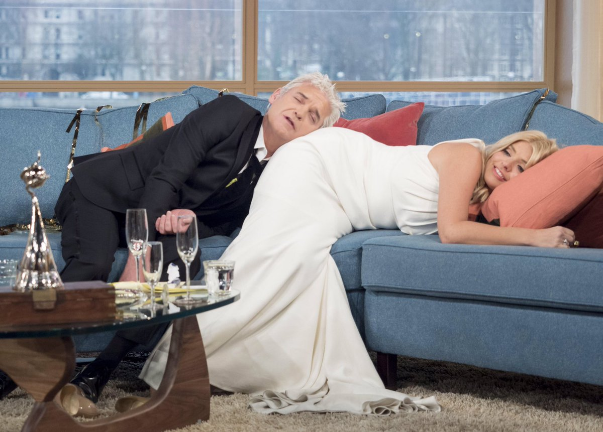 How it went (the morning after)... 😴🥴😂  @hollywills #ntas #thismorning #FlashbackFriday #FBF