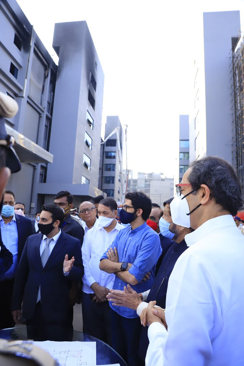 CM Uddhav Thackeray ji and I visited the @SerumInstIndia facility in Pune today. The Covishield Vaccine production has not halted even after the fire and that is a relief. The Institute is fully committed to full production for a safer world in times of covid (1/n)