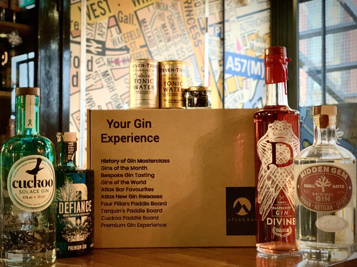 #FavouritesFriday 🍸  Why not enjoy an @TheAtlasBar favourites #gin Experience Box and #SupportLocal too #Manchester 🎉  What's your favourite?   @CuckooGin @DefianceSpirits @gindivine @HiddenGemDrinks ❤️