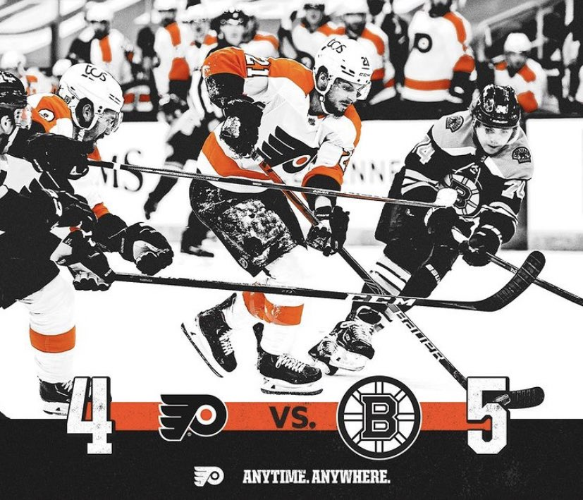 The #PhiladelphiaFlyers lost to the #BostonBruins 5-4 in a #Shootout on Thursday January 21, 2021. #LetsGoFlyers #AnytimeAnywhere