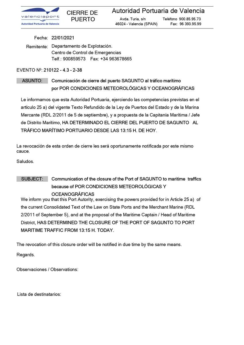 🚨 El mal estado de la mar y la adversidad meteorológica obligan a la APV a cerrar el Puerto de Sagunto al tráfico marítimo a las 13.15 h de hoy https://t.co/aa8CYkgrPI