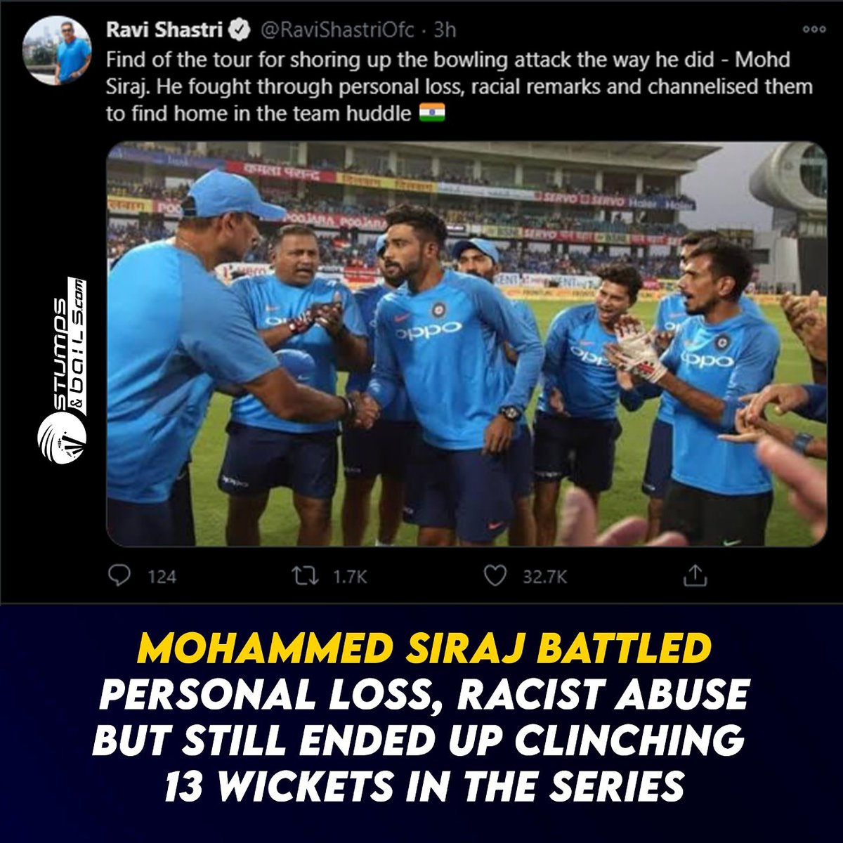 @RaviShastriOfc appreciated the 26-year-old pacer #MohammedSiraj  Follow us @stumpnbails #TestCricket #INDvsAUSTest #AUSvsIND #cricketmatch #IndianCricketTeam #TeamIndia #AjinkyaRahane #IPL #IPL2021 #iplauction2021 #IPLRetention #RaviShastri #MohammedSiraj #Cricket